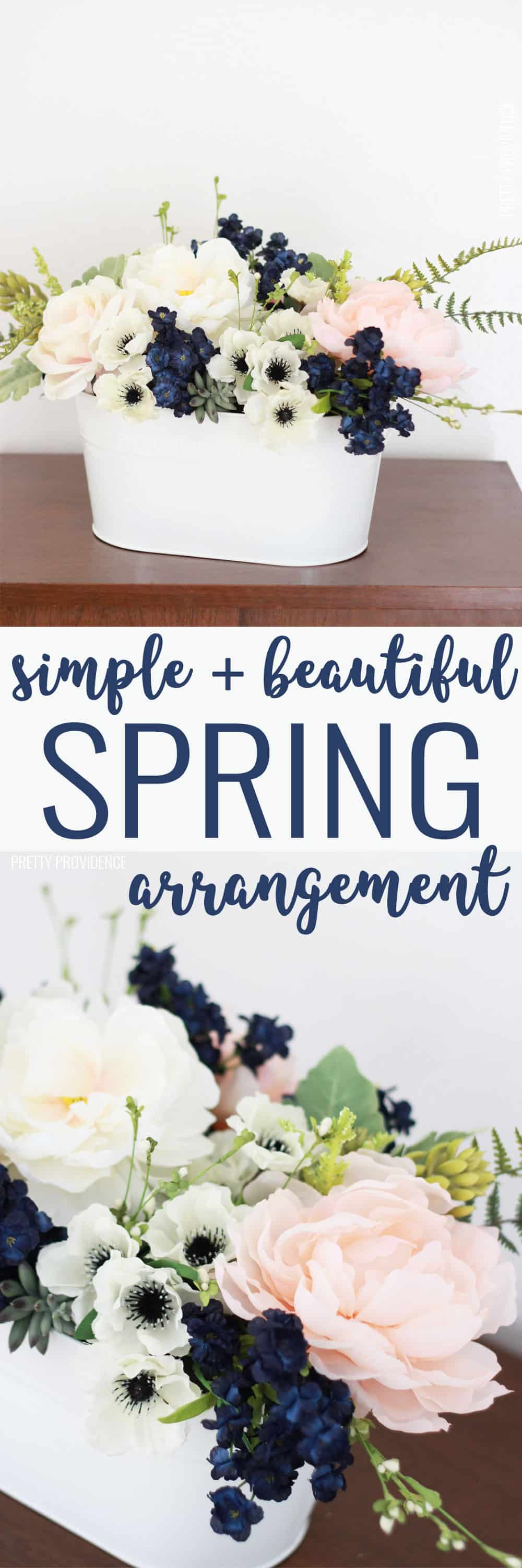 This easy flower arrangement is SO pretty! Perfect light pink and navy combo!