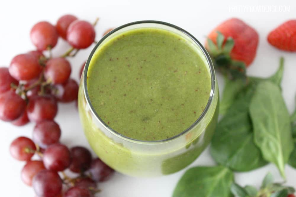 Even my kids drink this fruit and vegetable green smoothie and love it! You don't even notice that there isn't any dairy!
