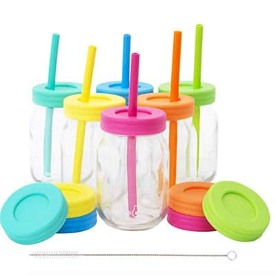 Smoothie cups with lids and silicone straws
