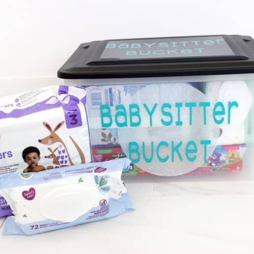 Babysitter Bucket with Babysitting Activities and Essentials