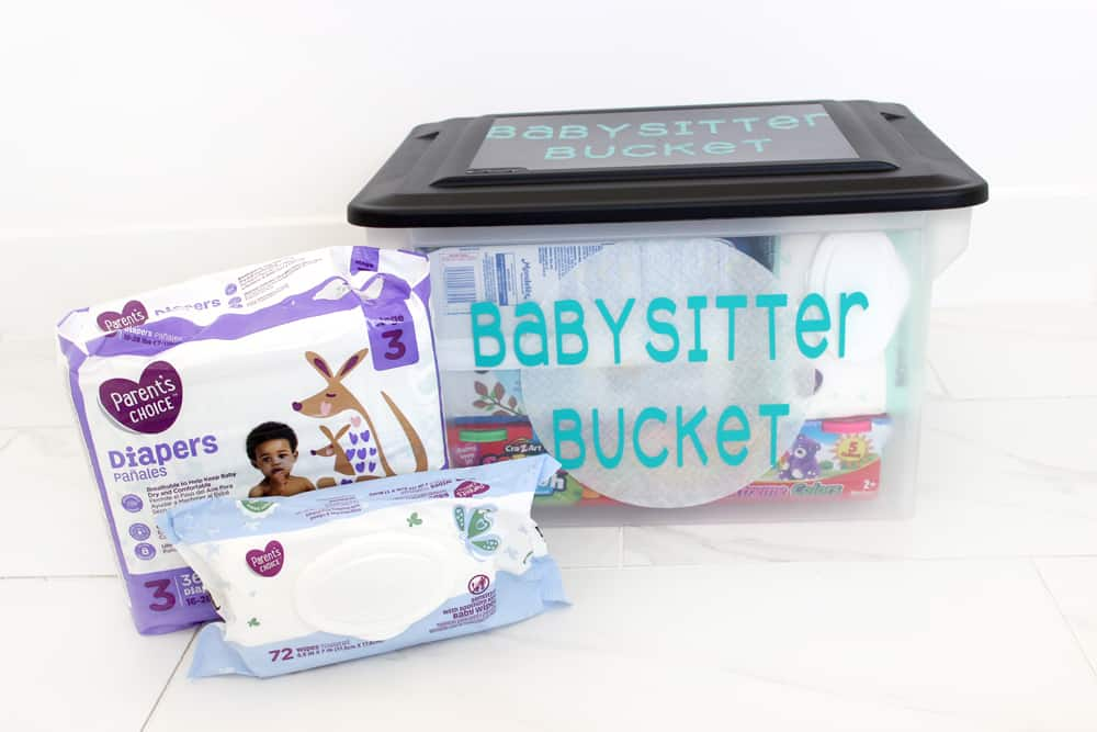 Babysitter bag filled with all the items the babysitter will need plus fun babysitting activities, games and treats!