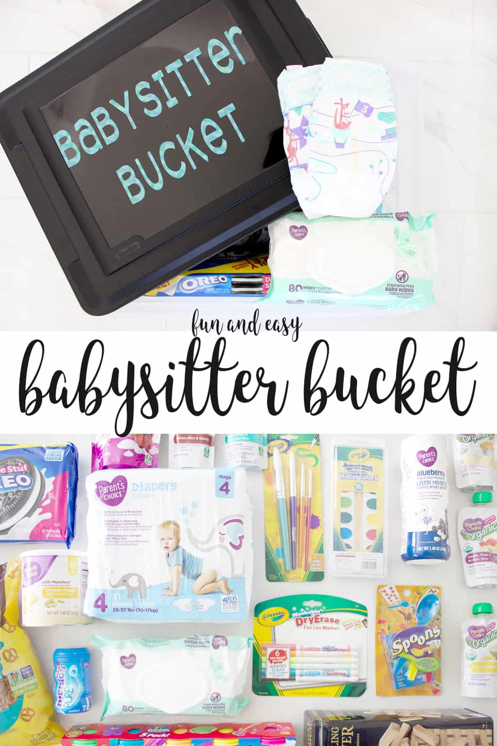 How fun is this babysitter bucket?! It is filled with all the essential items a babysitter will need to take care of the kids, plus tons of fun babysitting activities to keep them happy and occupied!