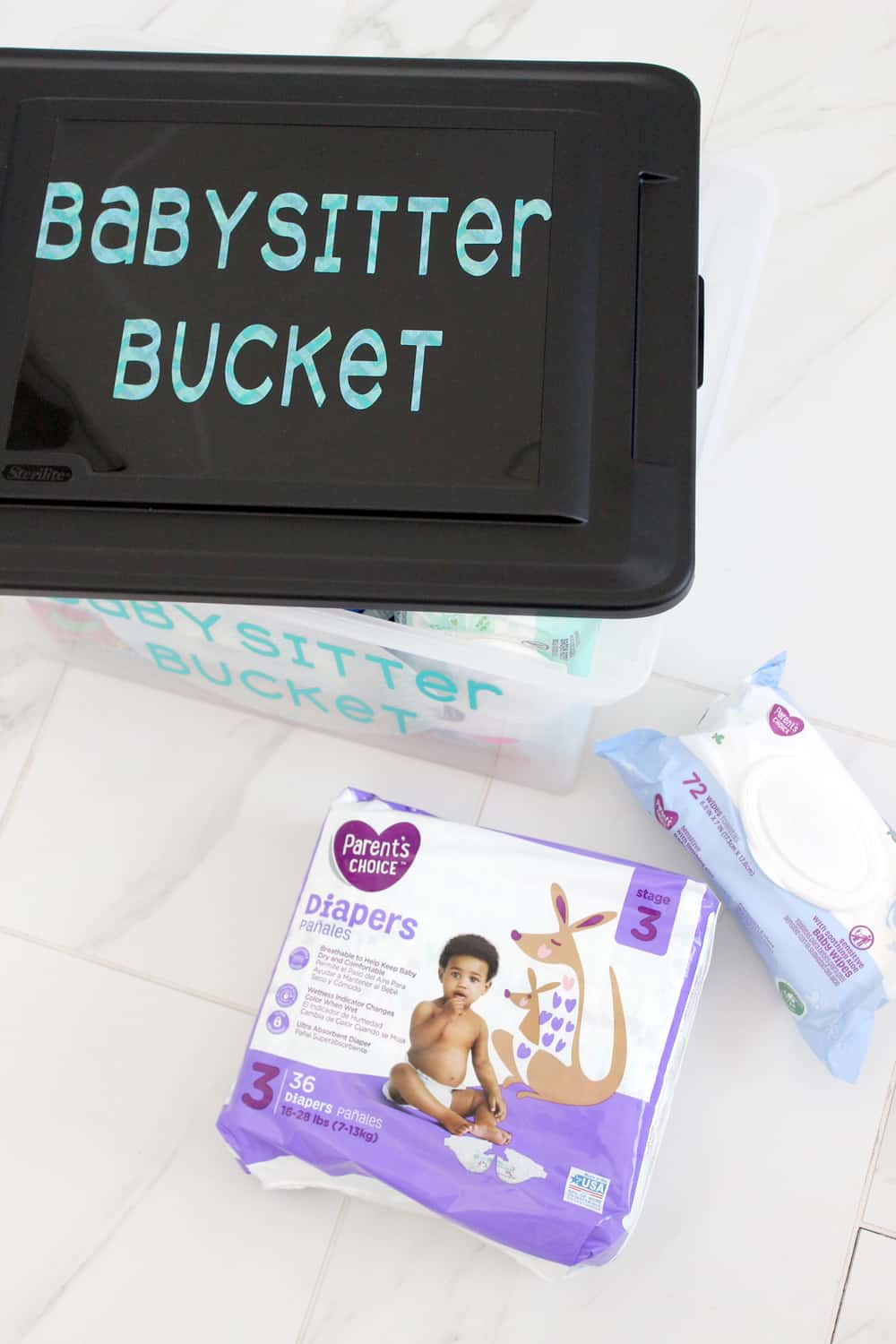 Parents Choice brand diapers and wipes are the best! Perfect for these babysitting bags!
