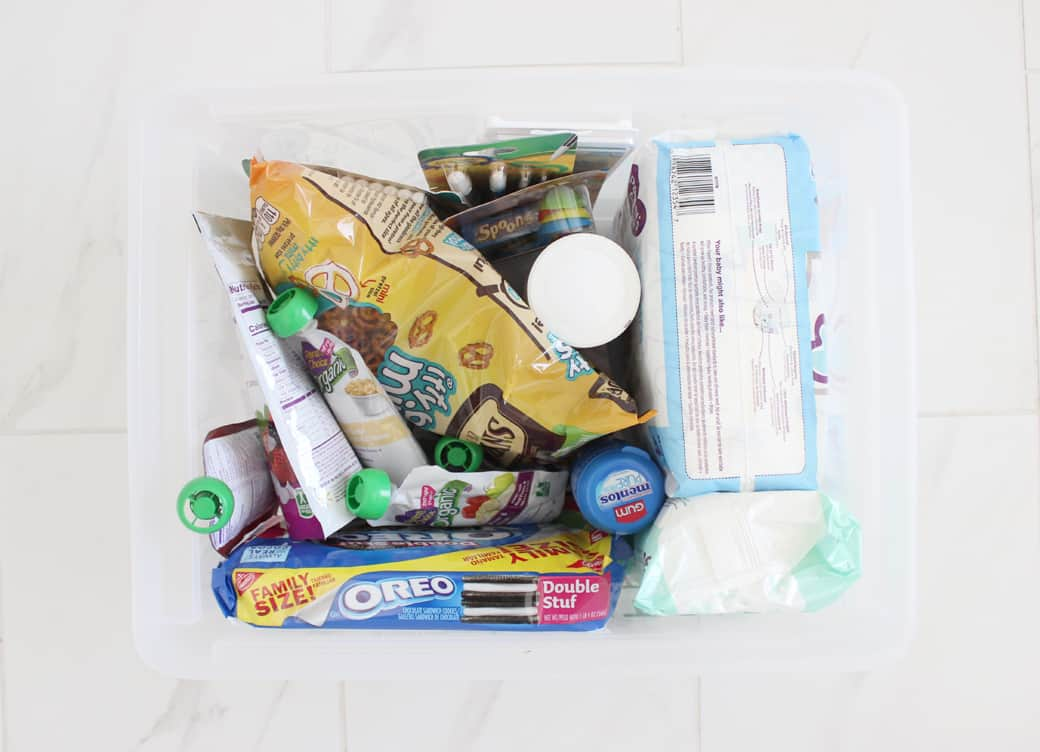 Babysitter bag stuffed full of fun babysitting activities and essential items!