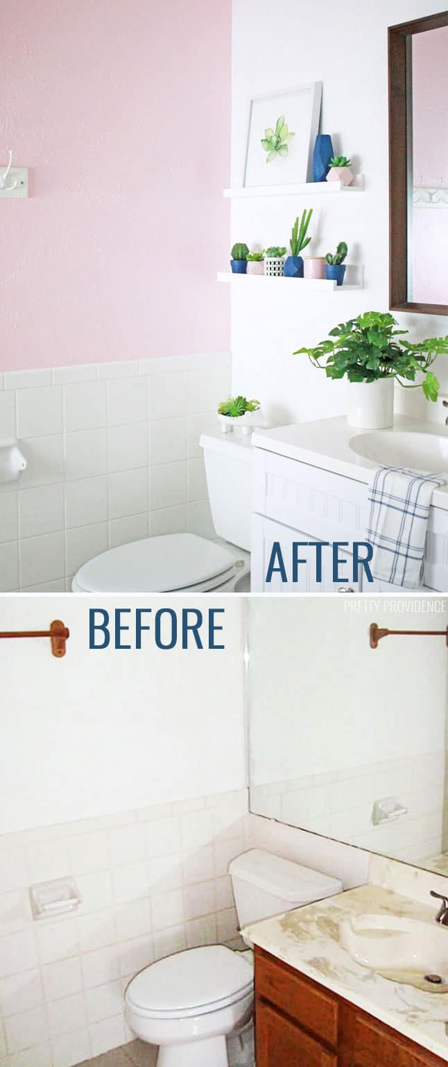 This small bathroom makeover is amazing and really budget-friendly too!