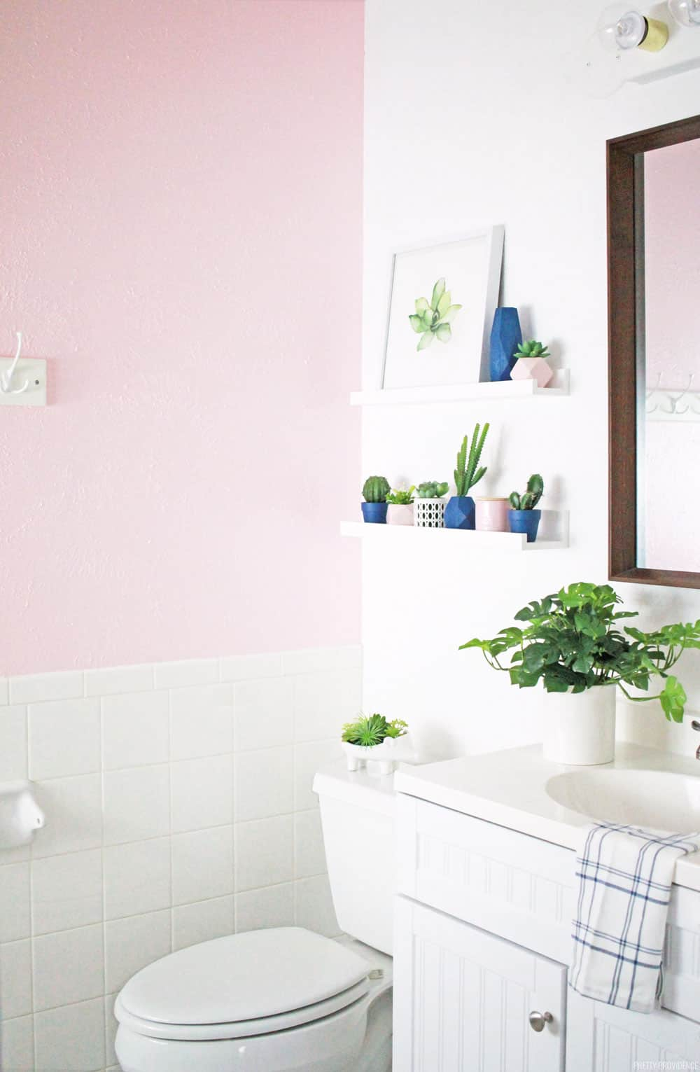 this small bathroom needed a makeover so badly now its a beautiful blush pink bathroom - Bathroom Makeover