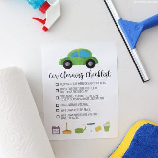 car cleaning checklist printable with cleaning supplies around it
