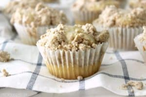 These coffee cake muffins are unbelievably good! From the moist cake base, to the delicious streusel topping to the sweet glaze finish these muffins are sure to hit the spot!