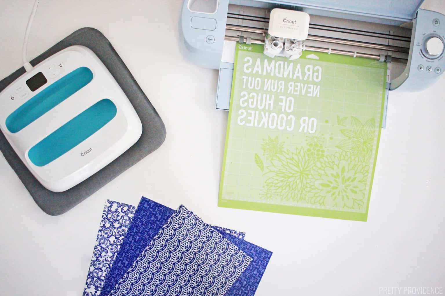 Cricut machine, EasyPress, EasyPress mat and new Patterned Iron On