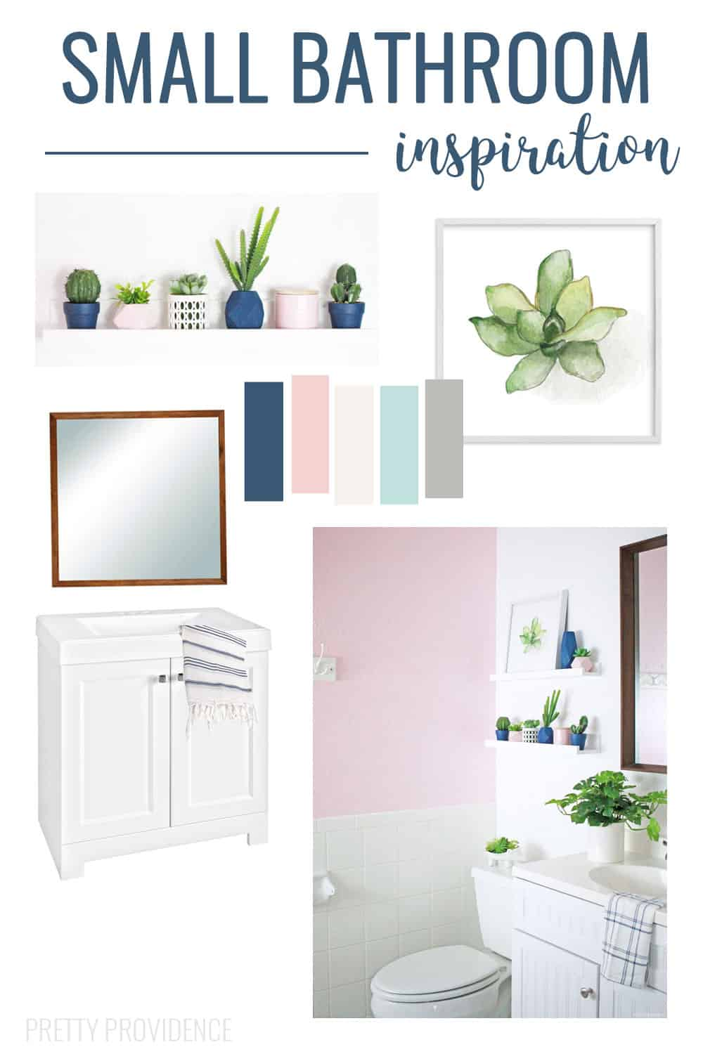 Small Bathroom Inspiration! Pink and Navy