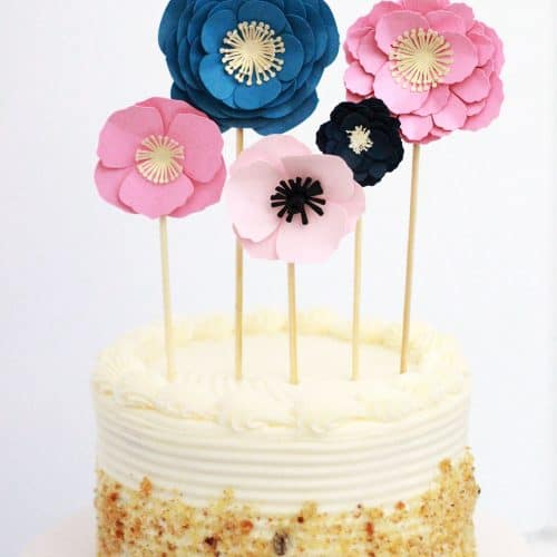 Paper Flowers Cake Topper
