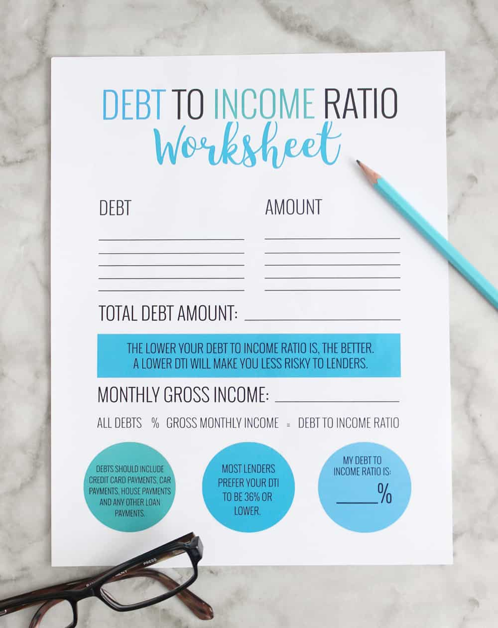 debt to income ratio free printable worksheet