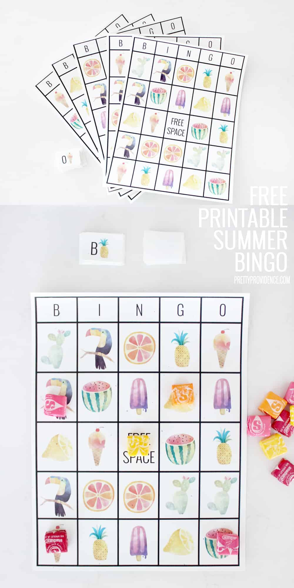 Fun free printable summer bingo sheets! Perfect activity to keep those little ones happy and busy, or for end of year class parties!