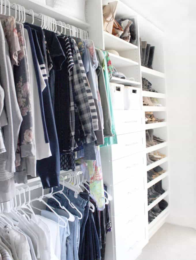 Master closet ideas including drawers, hanging space, and shoe racks.