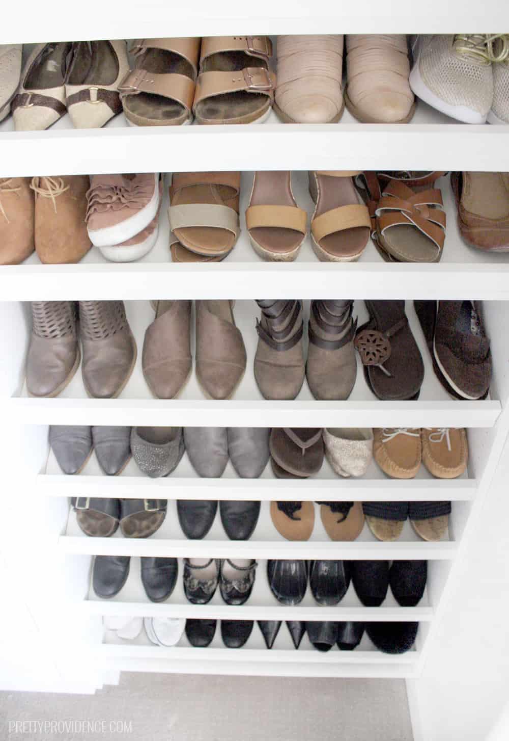 Master closet shoe racks!