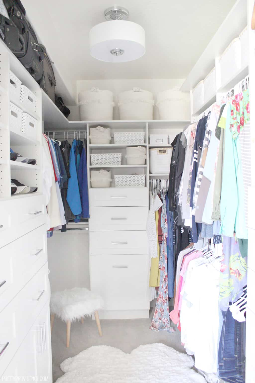 Fabulous walk in closet ideas! Our master closet used to be a complete mess of wasted space, but now it is beautiful, functional, and space saving!