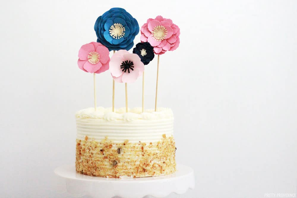 How To Make An Easy Cake Topper With Paper Flowers Made Of Cardstock This Is