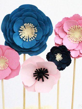 3D paper flowers on skewers