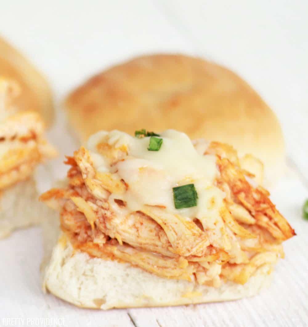 These easy buffalo chicken sliders with chicken made in the slow cooker.