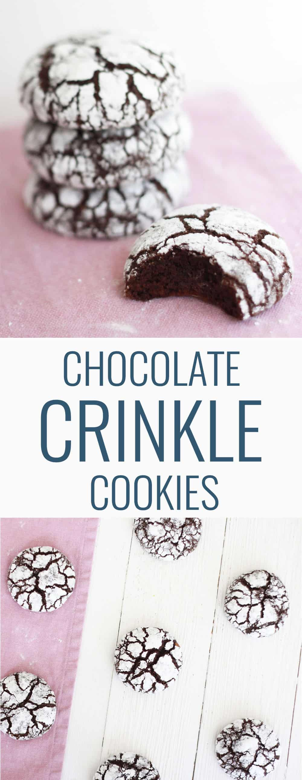 These chocolate crinkle cookies are rich, fudgy and covered in powdered sugar! What's not to LOVE?!