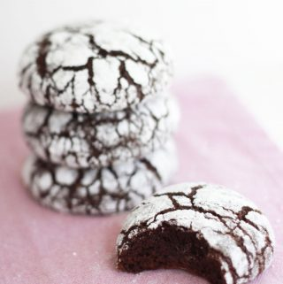 Chocolate crinkle cookies covered in powdered sugar!