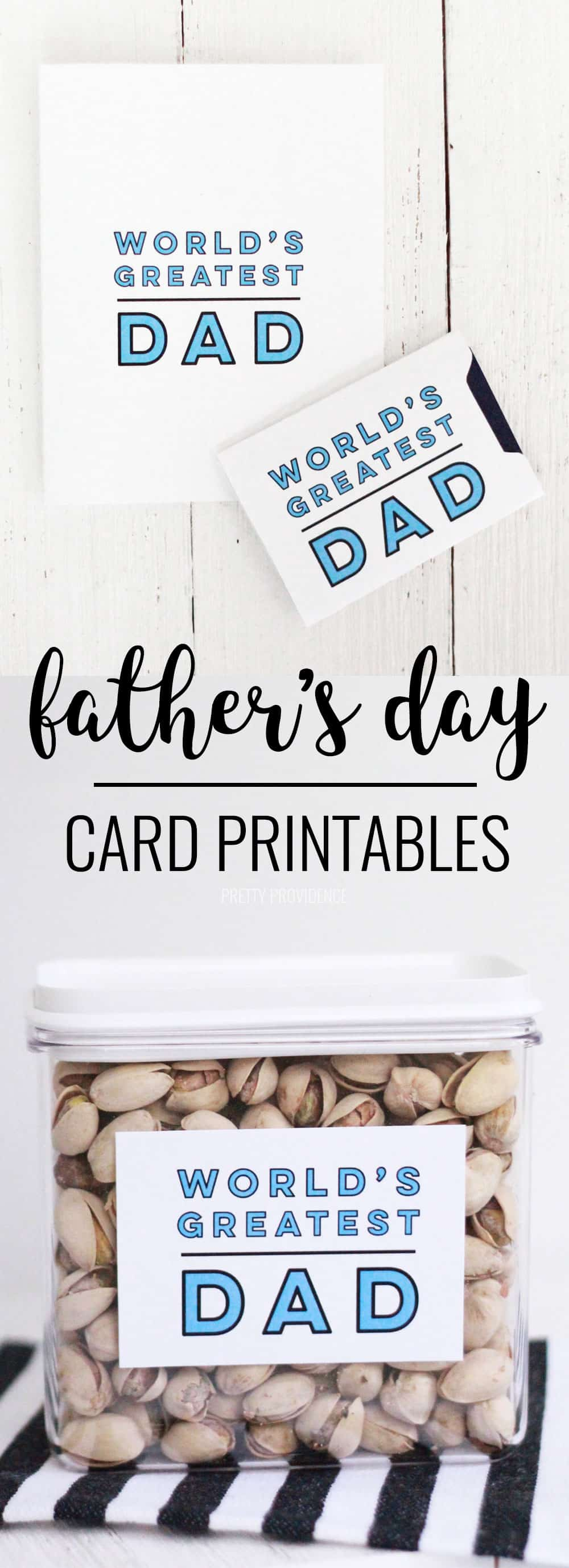 This Father's Day gift card printable is versatile, simple and cute! It can be used for gift cards or as a tag on a jar of his favorite treats!