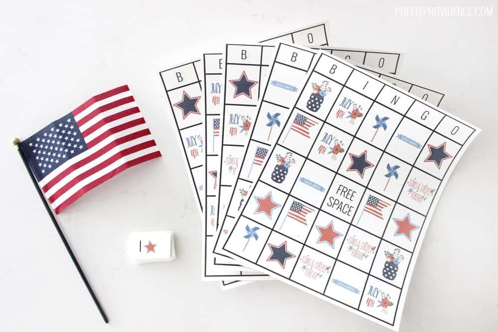 Free printable Fourth of July Bingo cards!