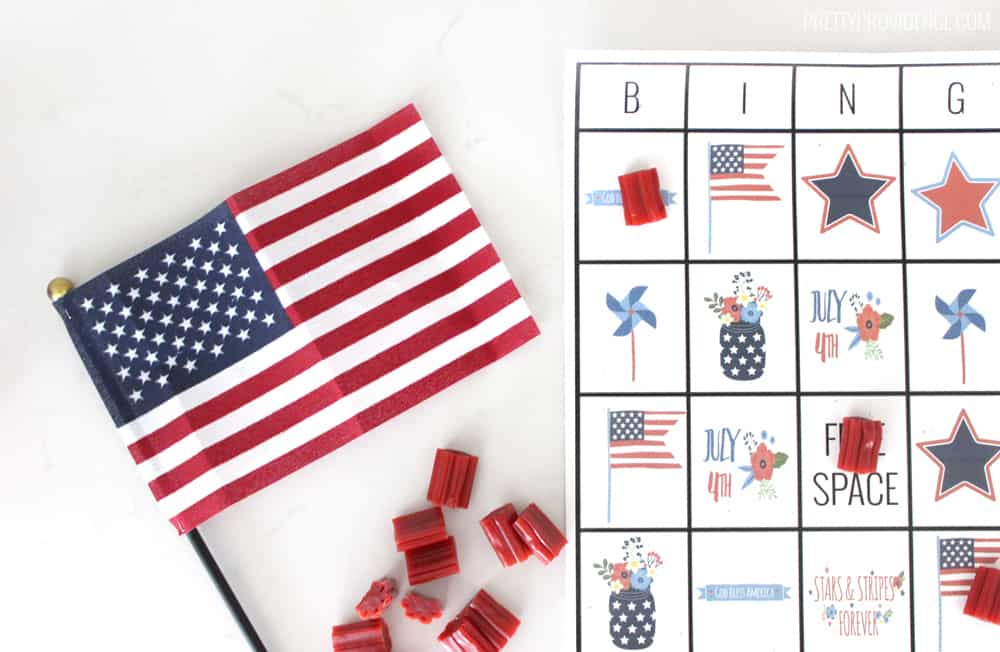 Close up image of the fourth of july bingo game.