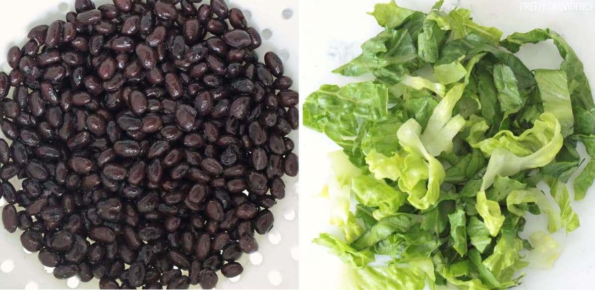 Black beans washed and rinsed, and lettuce chopped and rinsed.