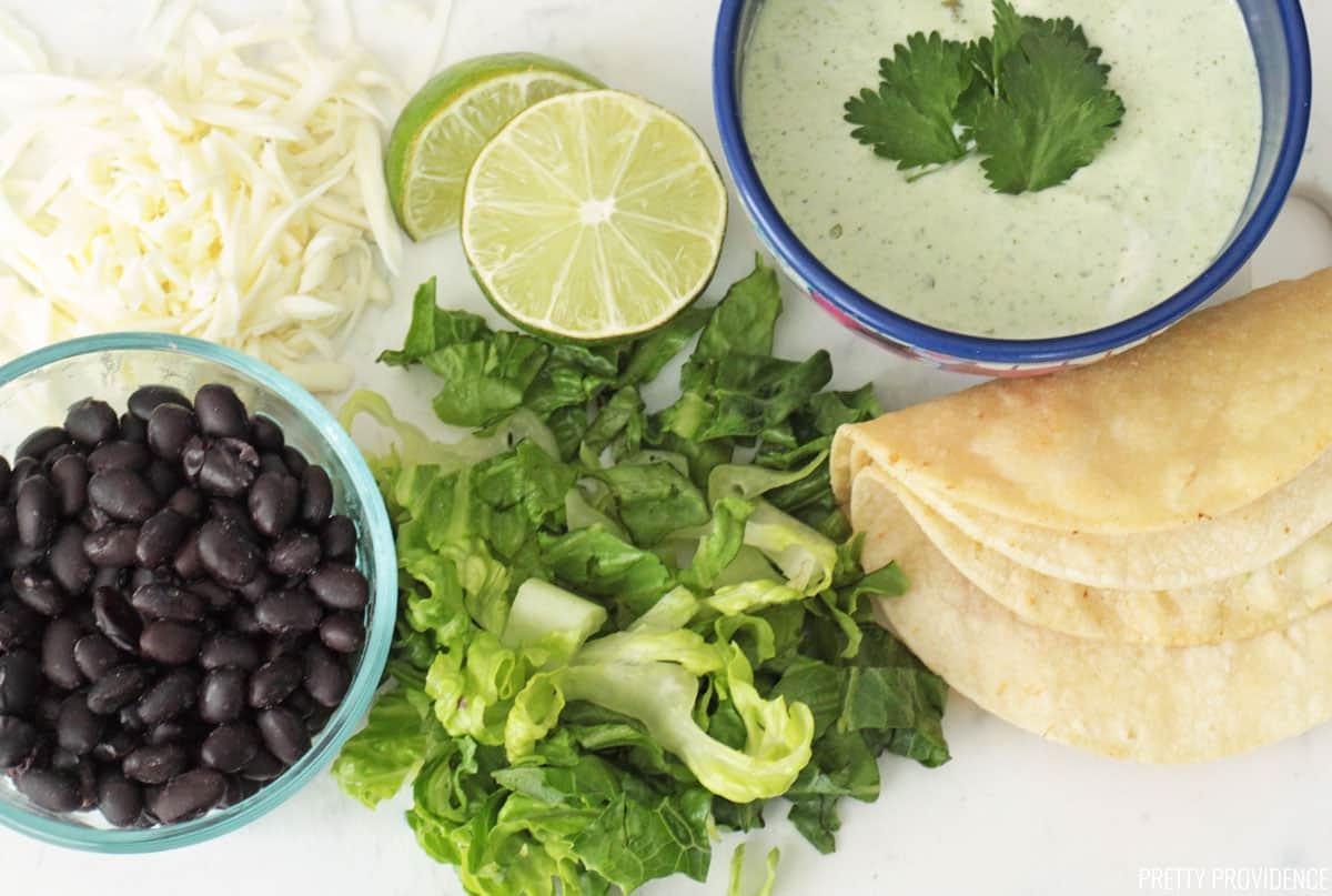 Black beans, lettuce, jalapeño ranch, corn tortillas and mozzarella cheese