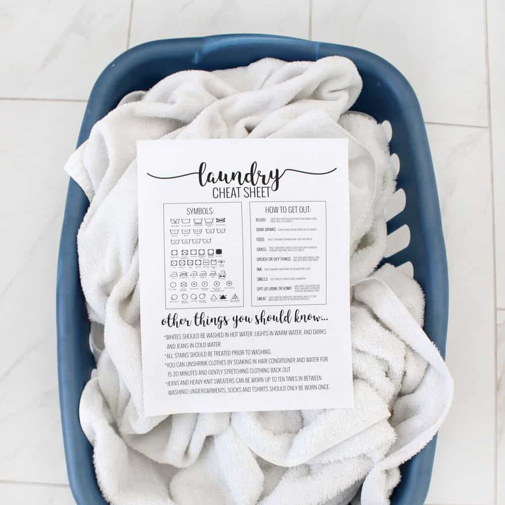 Free Printable Laundry Cheat Sheet