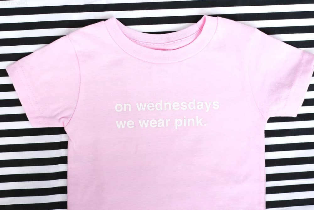 """On Wednesdays We Wear Pink"" DIY Mean girls iron-on t-shirt"