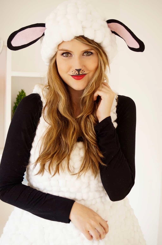 woman wearing a sheep halloween costume