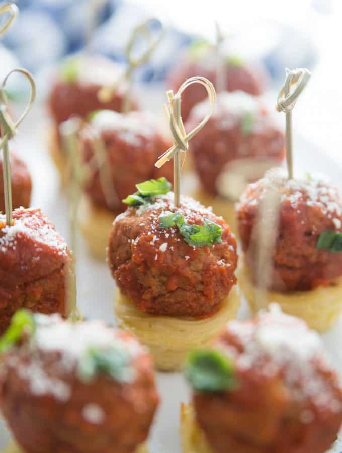 Spaghetti and Meatball Appetizers