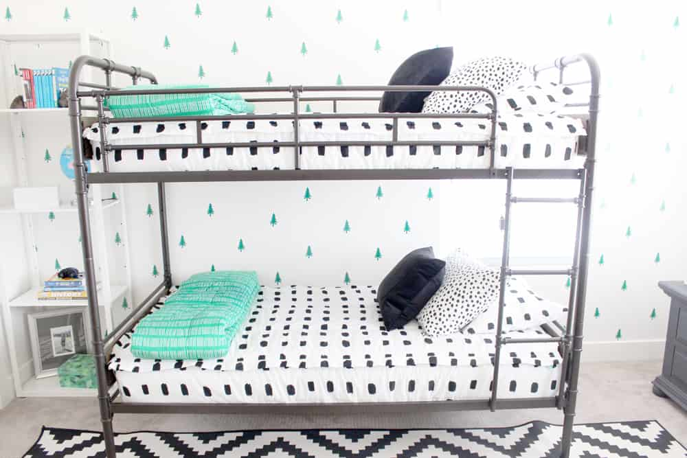 Beddy's Zipper Bedding on a metal bunk bed in a little boys room