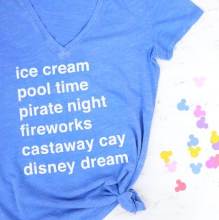 DIY Disney Cruise List T-Shirt with free cut file!