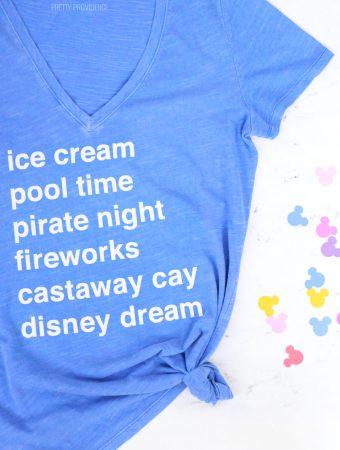 DIY Disney Cruise List T-Shirt with free cut file!