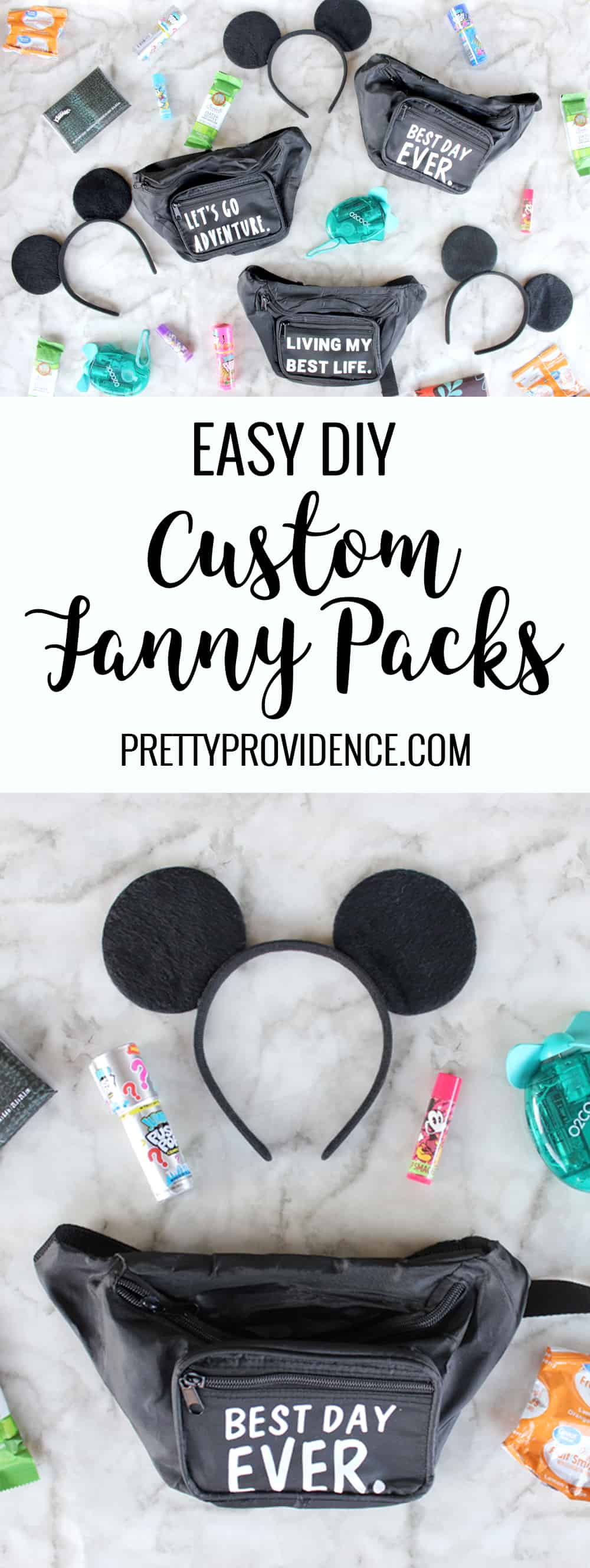 How adorable are these easy custom fanny packs made with the Cricut Maker?! I made them for my kids to bring to Disneyland and they LOVED them! They still use them all the time!