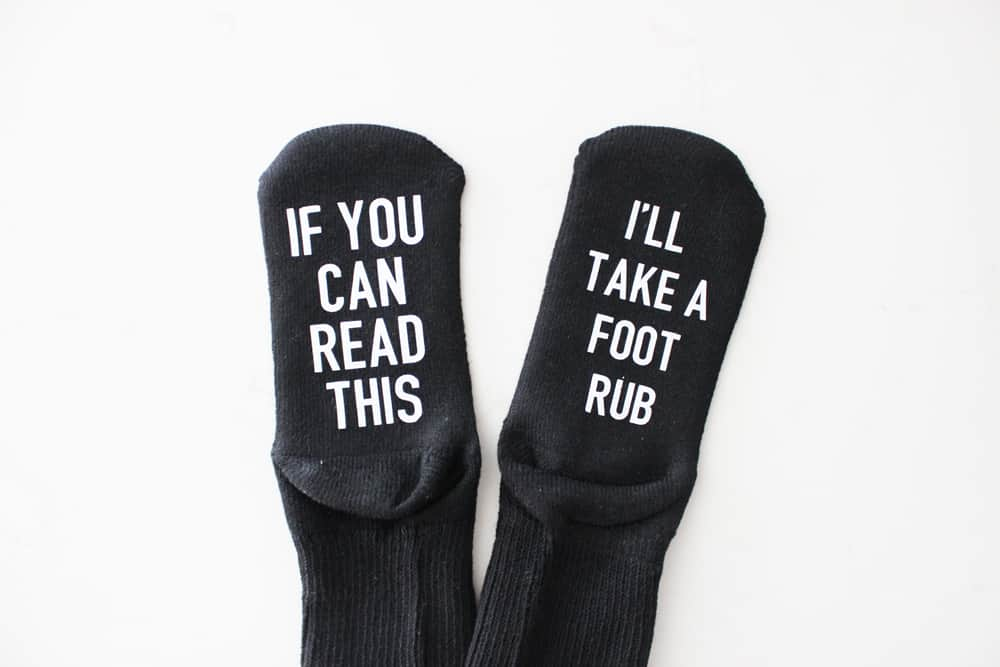 If you can read this, give me a foot rub, funny socks