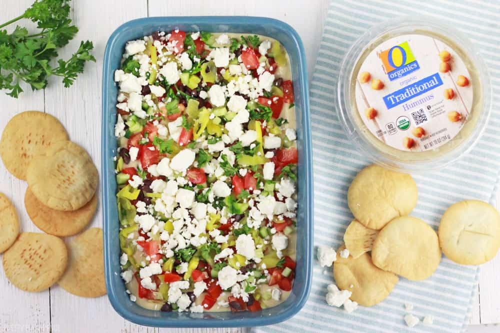 Healthy greek hummus dip