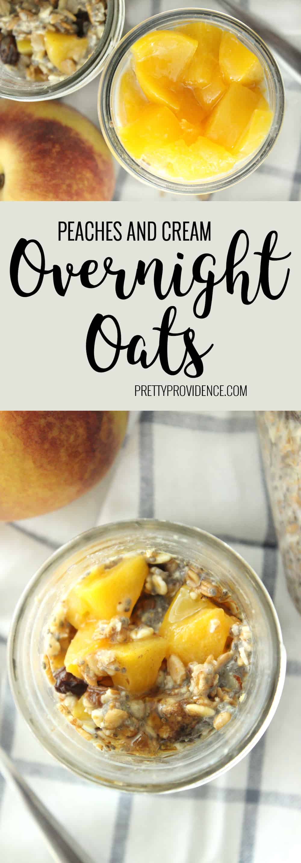 Nothing better than waking up to peaches and cream overnight oats! Whip up a batch and have them for breakfast or a healthy snack all week!
