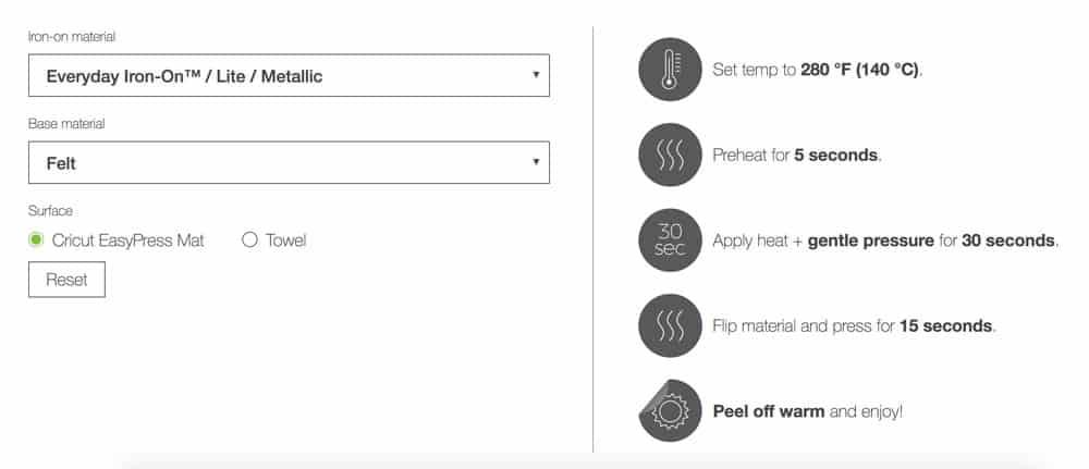 Cricut Iron-on settings for felt!