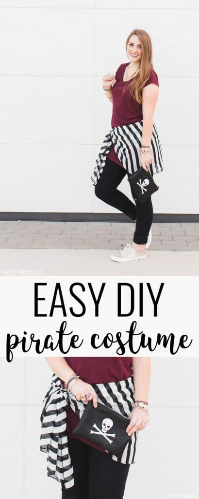 This easy DIY pirate costume is perfect for Pirate Night on Disney Cruise or for a Halloween costume!
