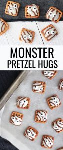 monster pretzel hugs on a baking pan and a white table with pinterest text in between