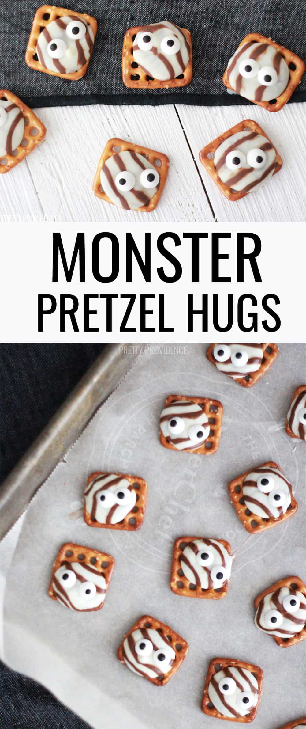 These fun Monster Pretzel Hugs with candy eyeballs are the perfect Halloween treat!