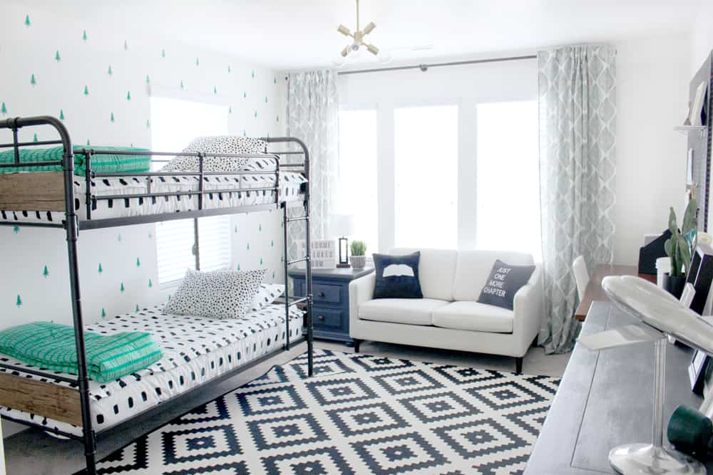 Super adorable black white and green adventure themed little boys room!