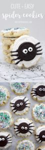 halloween sugar cookie with oreo spider on top of a granite countertop