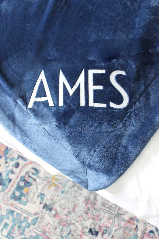 Cute and easy monogrammed blanket.