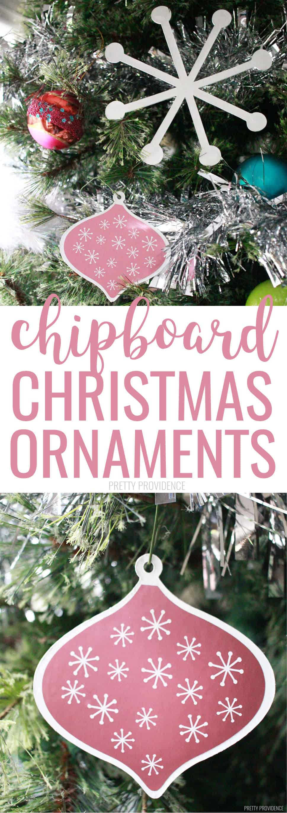 These DIY chipboard Christmas ornaments are so fun! Use any color of vinyl to decorate them! 