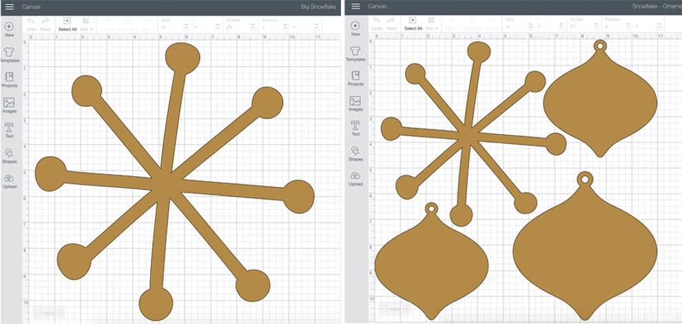 Cricut Design Space Snowflake Ornaments